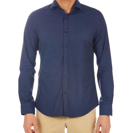 Leonardo Patterned Dress Shirt // Dark Blue (S)