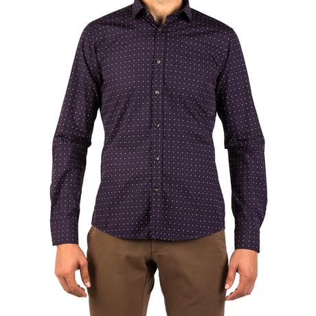 Roman Patterned Dress Shirt // Purple (S)
