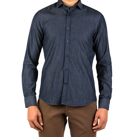 Efrain Patterned Dress Shirt // Dark Blue (S)