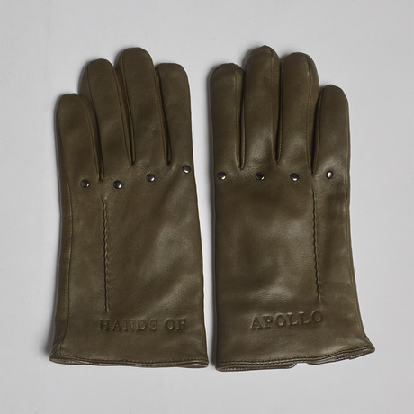Hands of Apollo Leather Gloves // Olive (XS)