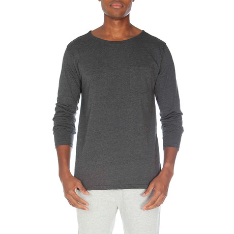 Super Soft Long Sleeve Pocket Tee // Dark Gray Heather (S)