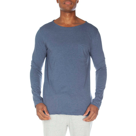 Super Soft Long Sleeve Pocket Tee // Medium Blue Heather (S)