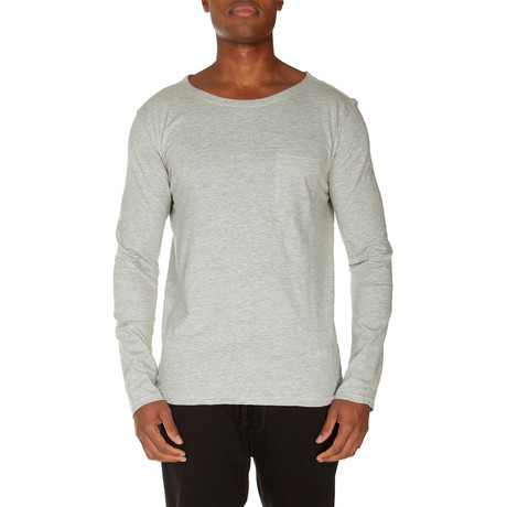 Super Soft Long Sleeve Pocket Tee // Light Gray Heather (S)