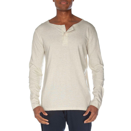 Super Soft Two-Button Henley // Oatmeal Heather (S)