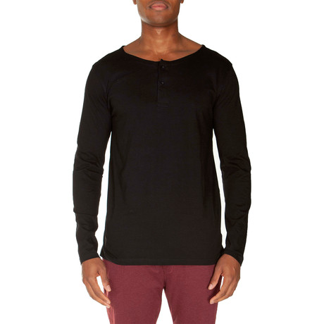 Super Soft Two-Button Henley // Black (S)