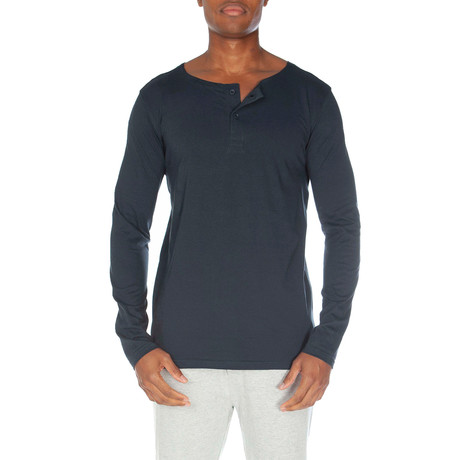 Super Soft Two-Button Henley // Navy (XL)