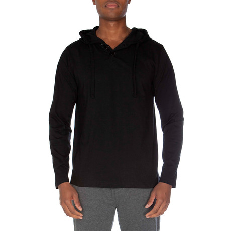 Super Soft Hooded Henley // Black (S)