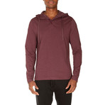 Super Soft Hooded Henley // Cranberry Heather (M)