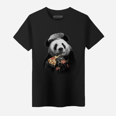 Panda Pizza T-Shirt // Black (Small)