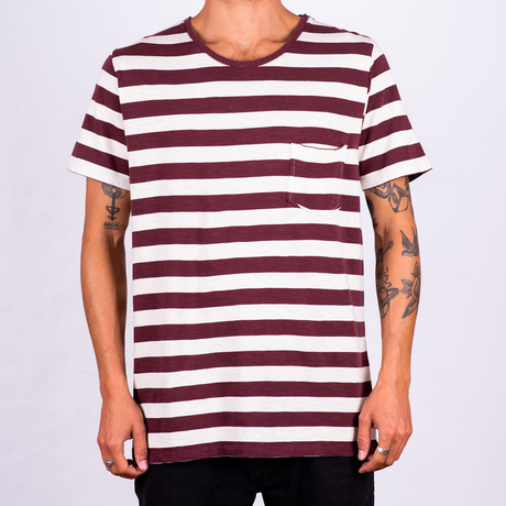 T-Shirt Essential Stripes // Bordeaux + Ecru (XL)