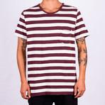 T-Shirt Essential Stripes // Bordeaux + Ecru (XL)