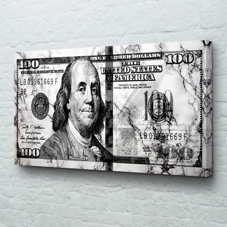 "Big Benjamin // Marble Money (40""W x 20""H x 1.5""D // Gallery Wrapped)"