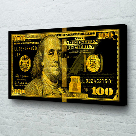 "Big Benjamin // Black + Gold (40""W x 20""H x 1.5""D // Gallery Wrapped)"