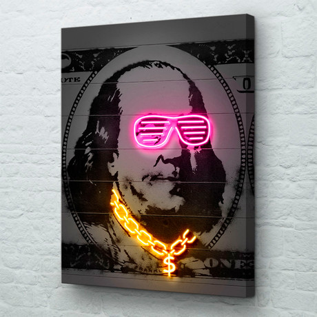 "Neon Franklin (18""W x 24""H x 1.5""D // Gallery Wrapped)"