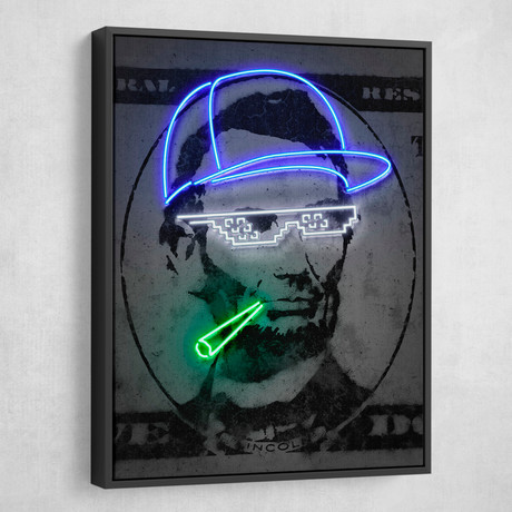 "Neon Lincoln (18""W x 24""H x 1.5""D // Gallery Wrapped)"