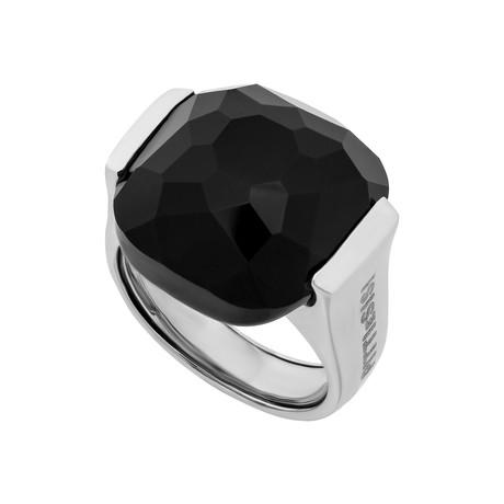 Vintage Pitti E Sisi 18k White Gold Onyx Ring // Ring Size: 8