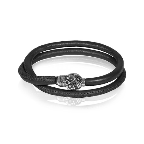 "Skull Leather Wrap Bracelet // Black (7.5""L)"