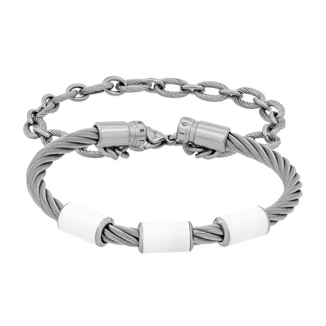 "Charriol // St. Tropez Stainless Steel Cable + White Lacquer Bangle // Circumference: 6.75"" (Circumference: 6"")"