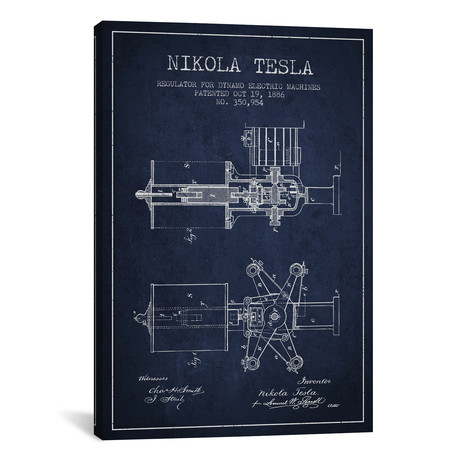 "Tesla Regulator Navy Blue Patent Blueprint // Aged Pixel (12""W x 18""H x 0.75""D)"