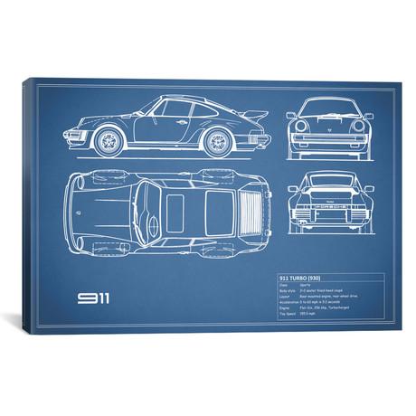 "1977 Porsche 911 Turbo (930) (Blue) // Mark Rogan (18""W x 12""H x 0.75""D)"
