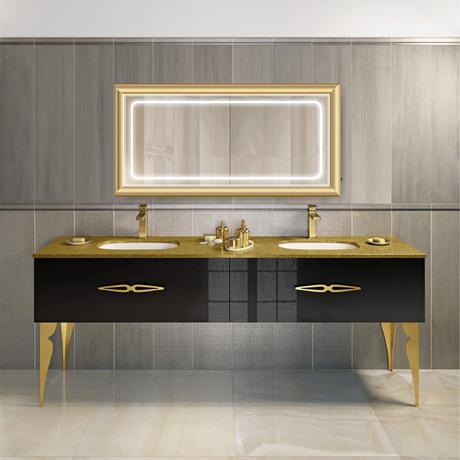"LED Mirror // Gold Frame (48""L x 30""W)"