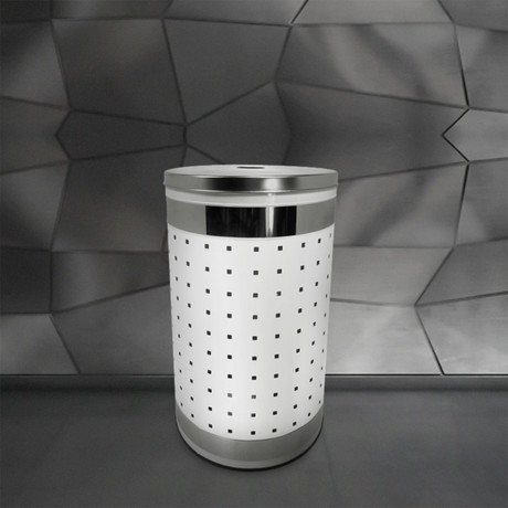 White + Stainless Steel Laundry Bin // 50L