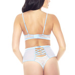 Applique Bra + High Waisted Panty // Blue // 2-Piece (S)