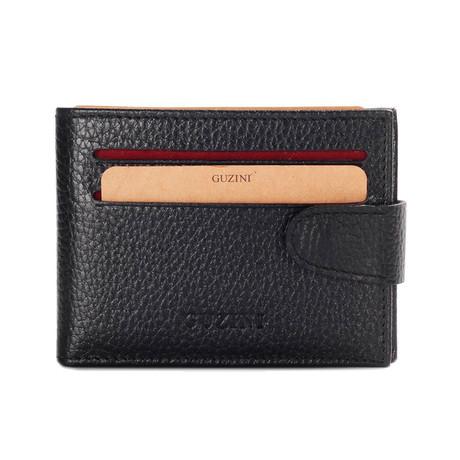 Clasped Bi-Fold Card Wallet // Black