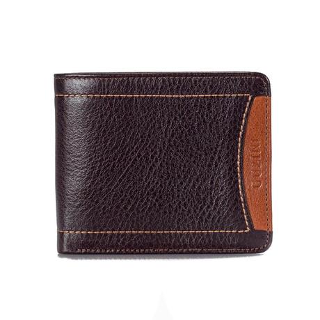 Contrast Stitch Wallet // Brown
