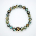 African Turquoise Bead Bracelet // Turquoise + Gold
