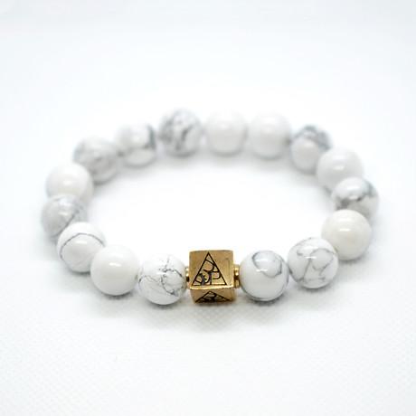 Howlite Bead Bracelet // White + Gold