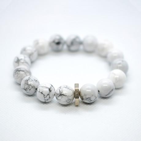 Howlite Bead Bracelet // White + Silver