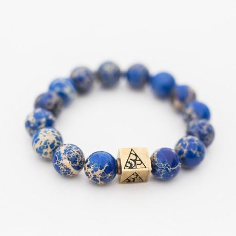 Regalite Bead Bracelet // Blue + White + Gold