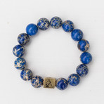 Regalite Bead Bracelet // Blue + White + Gold