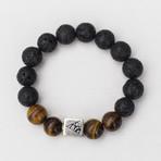 Lava + Tiger's Eye Mix Bead Bracelet // Black + Brown + Silver