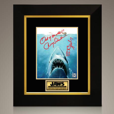 Jaws // Steven Spielberg + Roy Scheider Hand-Signed // Custom Frame (Signed Photo Only + Custom Frame)