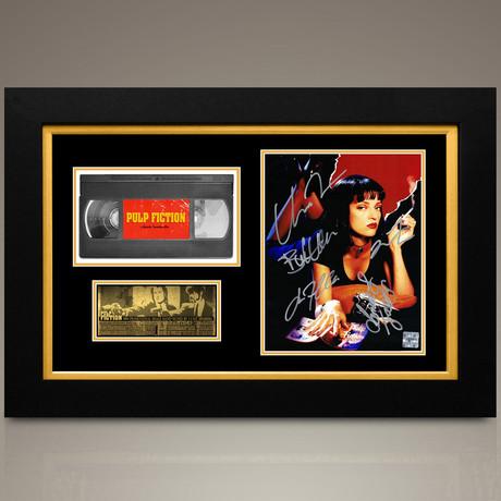 Pulp Fiction // John Travolta + Uma Thurman + Samuel L. Jackson + Bruce Willis + Quentin Tarantino Hand-Signed // Custom Frame (Signed Photo Only + Custom Frame)