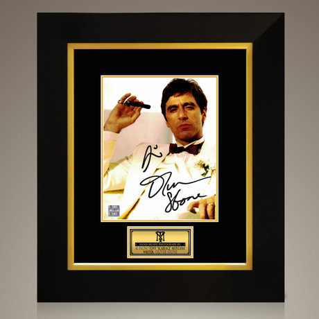 Scarface // Al Pacino + Oliver Stone Hand-Signed // Custom Frame (Signed Photo Only + Custom Frame)