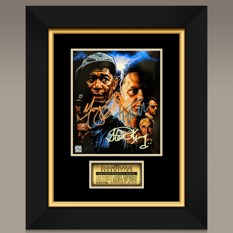Shawshank Redemption // Stephen King + Tim Robbins + Morgan Freeman Hand-Signed // Custom Frame (Signed Photo Only + Custom Frame)