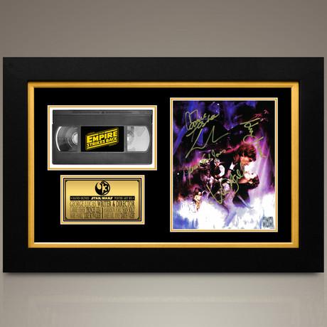 Star Wars Empire Strikes Back // Mark Hamill + Harrison Ford + Carrie Fisher + Earl Jones + Lucas Hand-Signed // Custom Frame (Signed Photo Only + Custom Frame)