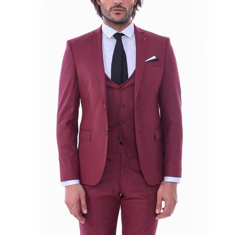 Ike 3-Piece Slim-Fit Suit // Burgundy (US: 34R)