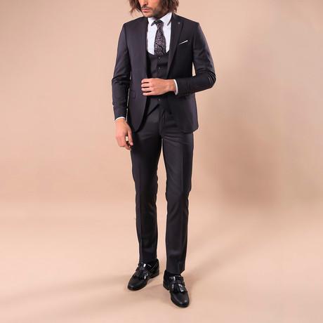 Leonard 3-Piece Slim-Fit Suit // Black (US: 34R)