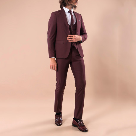 Leonard 3-Piece Slim-Fit Suit // Burgundy (US: 34R)
