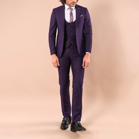 Leonard 3-Piece Slim-Fit Suit // Purple (Euro: 44)