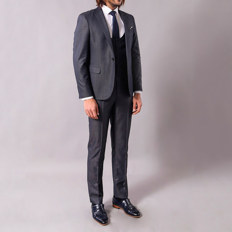 Geoffrey 3-Piece Slim-Fit Suit // Smoke (Euro: 44)
