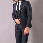 Rashad 3-Piece Slim-Fit Suit // Smoke (Euro: 44)
