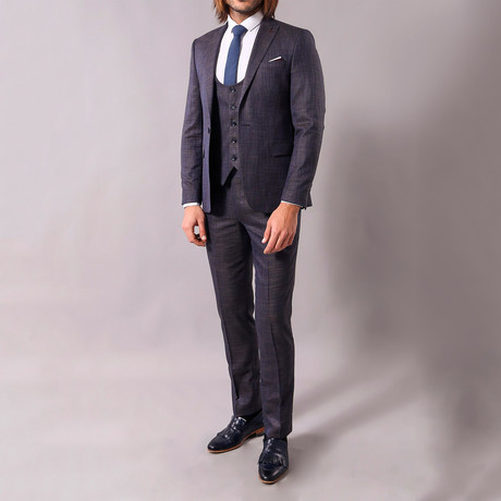 Doyle 3-Piece Slim-Fit Suit // Smoke (US: 34R)