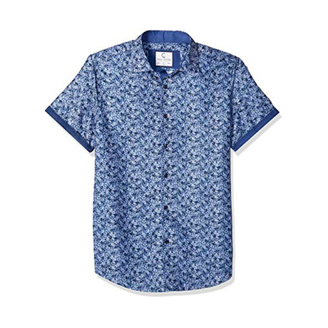 Bobbie Short-Sleeve Casual Button Down Shirt // Navy (XS)