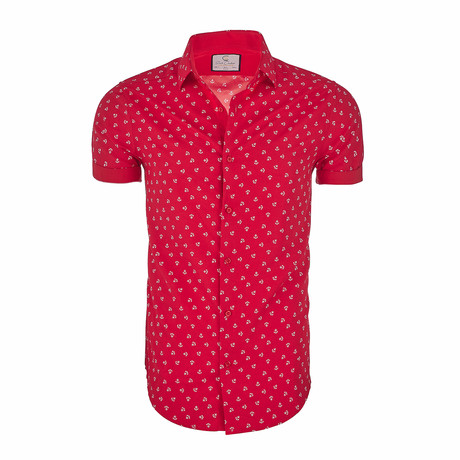 Seymour Short-Sleeve Casual Button Down Shirt // Red (XS)
