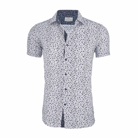 Dorian Short-Sleeve Casual Button Down Shirt // White + Navy (XS)